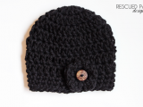 chunky crochet black button hat