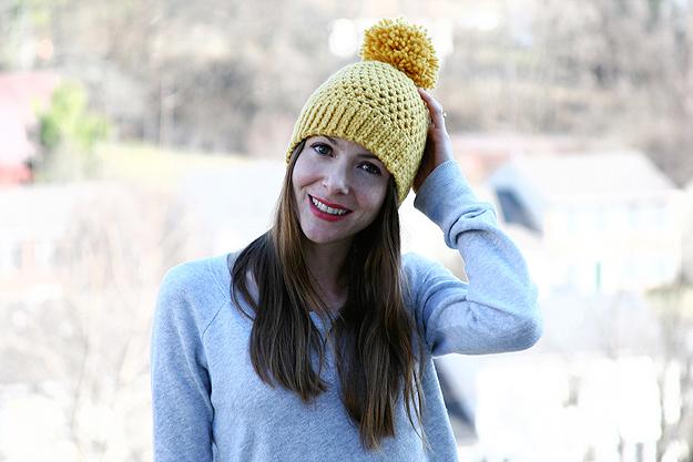 crochet big pom beanie