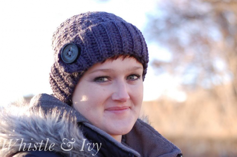 chunky button ribbed beanie