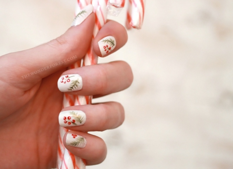 Picture Of cool diy holiday nail art with spruce and berries  3
