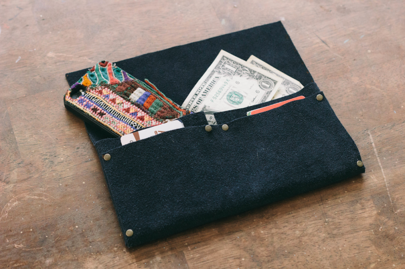 Picture Of cool diy no sew clutch of leather  1