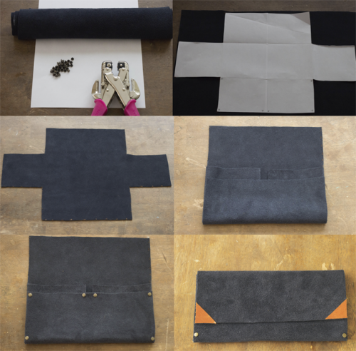 Cool DIY No Sew Clutch Of Leather