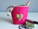 sequin heart zipper pouch