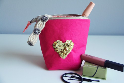 sequin heart zipper pouch