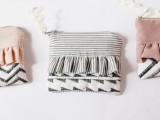 ruffle zipper pouch