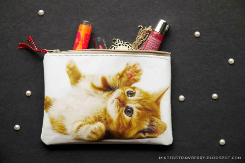 cat photo zipper pouch (via mintedstrawberry)