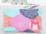 zippered pouch with a felt monogram