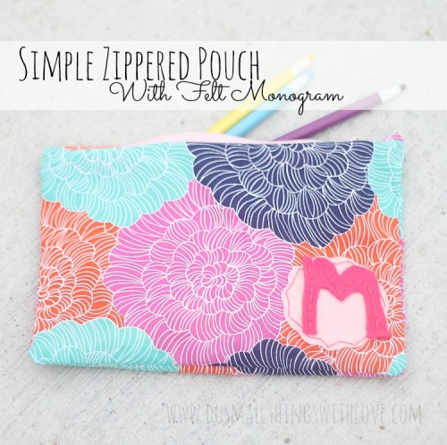 zippered pouch with a felt monogram (via shelterness)