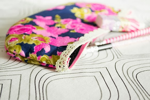 no sew floral pouch