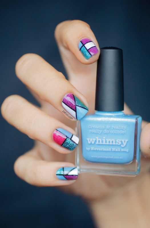 Picture Of cool glitter geometric nail design to try  1