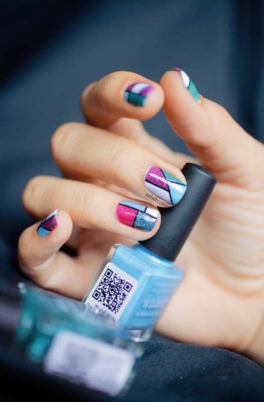 Picture Of cool glitter geometric nail design to try  3