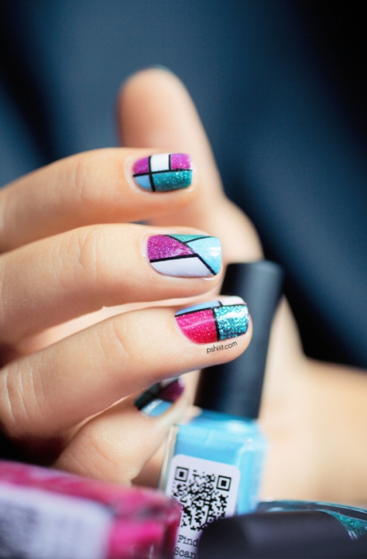 Picture Of cool glitter geometric nail design to try  5