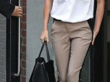 a simple summer work look with a a white sleeveless shirt, taupe pants with black ribbons and black heels