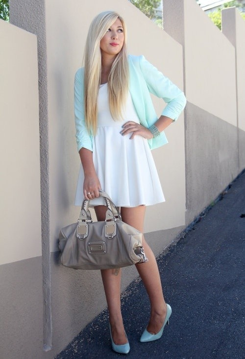 a white A-line mini dress, a mint blazer, mint shoes and a grey bag for a spring or summer work look