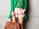 a bright summer work look with an apple green shirt and long blazer, floral shorts, nude shoes and a brown leather tote