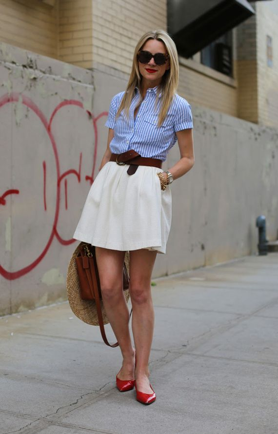 picture of a blue striped shirt a creamy a line skirt