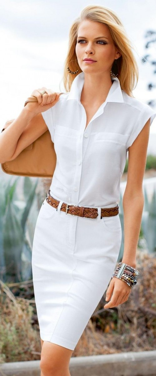 a white cap sleeve shirt, a white midi skirt, a brown belt and a brown bag for summer