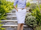 a blue striped shirt, a white skirt with pockets, purple peep toe shoes for a simple and chic look