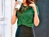 an apple green tee tucked into a black mini skirt, a statement necklace are all you need to go to work