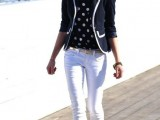 white jeans, a polka dot shirt, a black and white blazer, brown heels for a bold and contrasting look