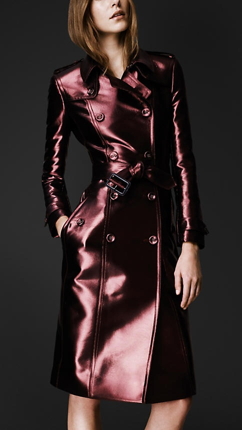 a metallic burgundy leather midi trench by Burberry is a fashion statement for spring