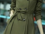 an olive green double-breast trench with a lace edge is a very girlish and feminine idea for spring