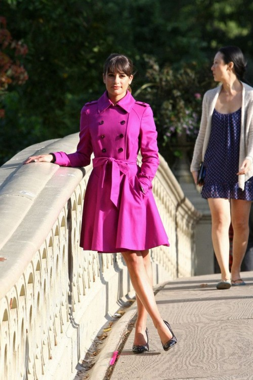 a hot pink double-breasted trench with black buttons is a bold touch of color to your spring looks
