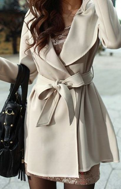 a neutral wrap trench with a sash is a chic and simple idea that will always work