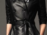 a black double-breasted leather midi trench with a retro feel is a hot idea to wear this spring