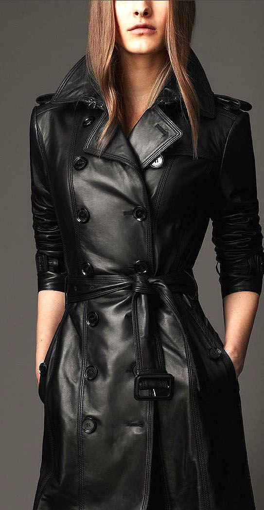 a black double breasted leather midi trench with a retro feel is a hot idea to wear this spring