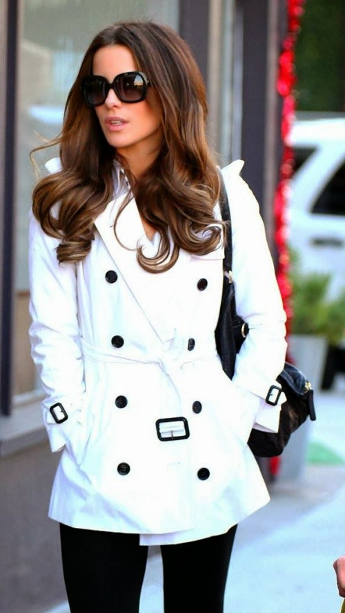 a short white double-breasted trench with black buttons can make your outfit bold and very fresh