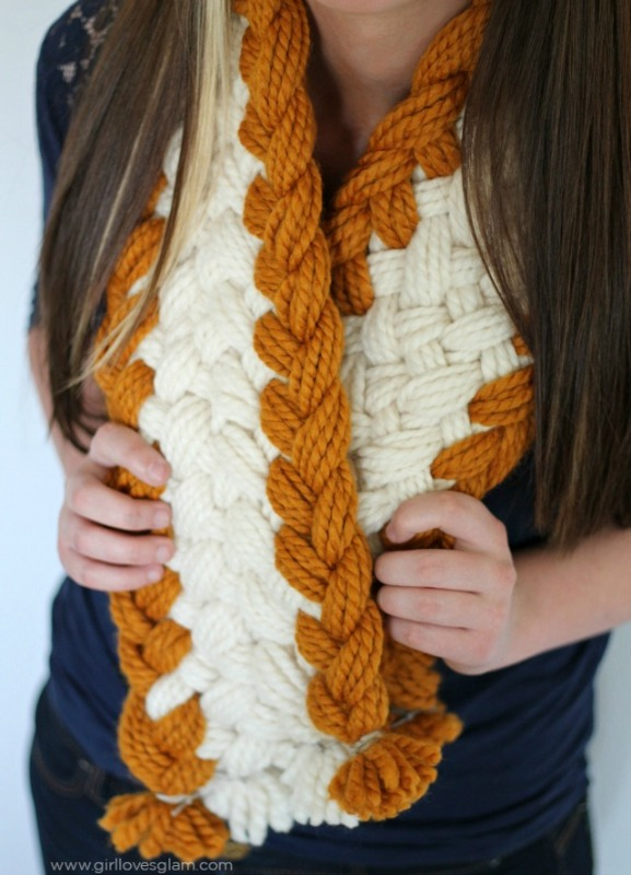 Picture Of cozy diy chunky braided scarf for this fall  3
