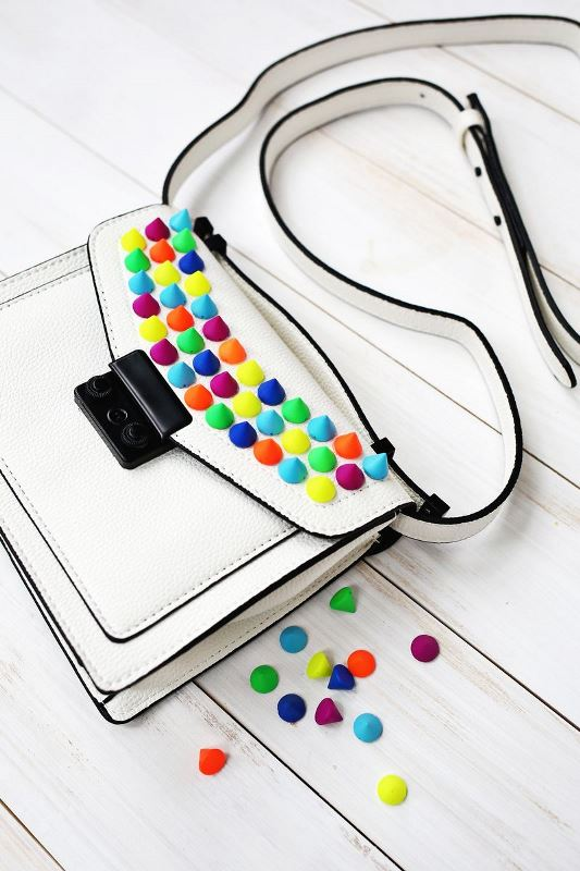 Picture Of creative and fun diy bags upgrade with colorful spikes  1