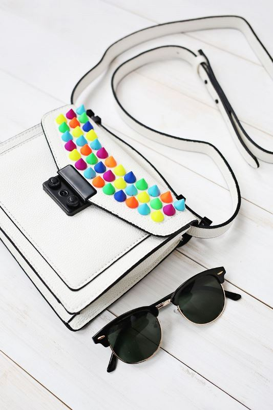 Picture Of creative and fun diy bags upgrade with colorful spikes  3