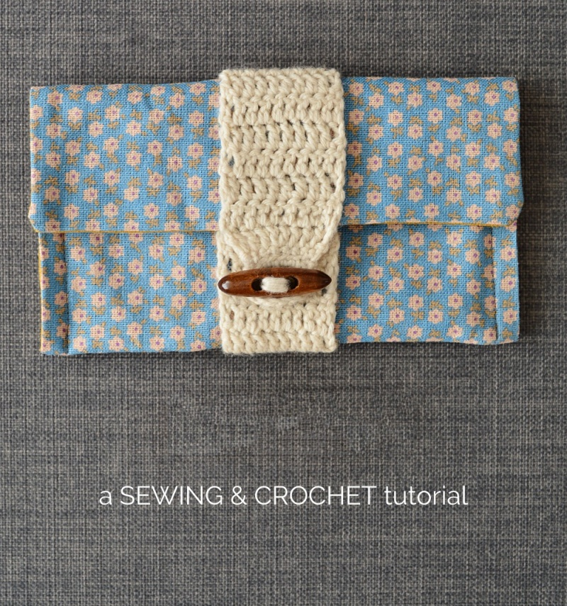Picture Of cute and cozy diy clutch with crochet band  1