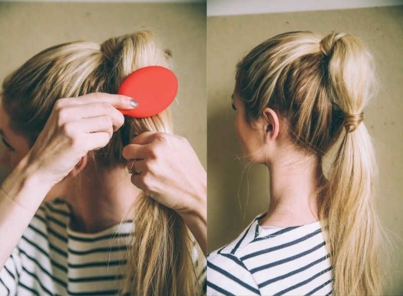 Picture Of cute diy bubble ponytail to make  3