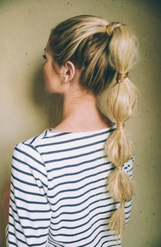 Picture Of cute diy bubble ponytail to make  4