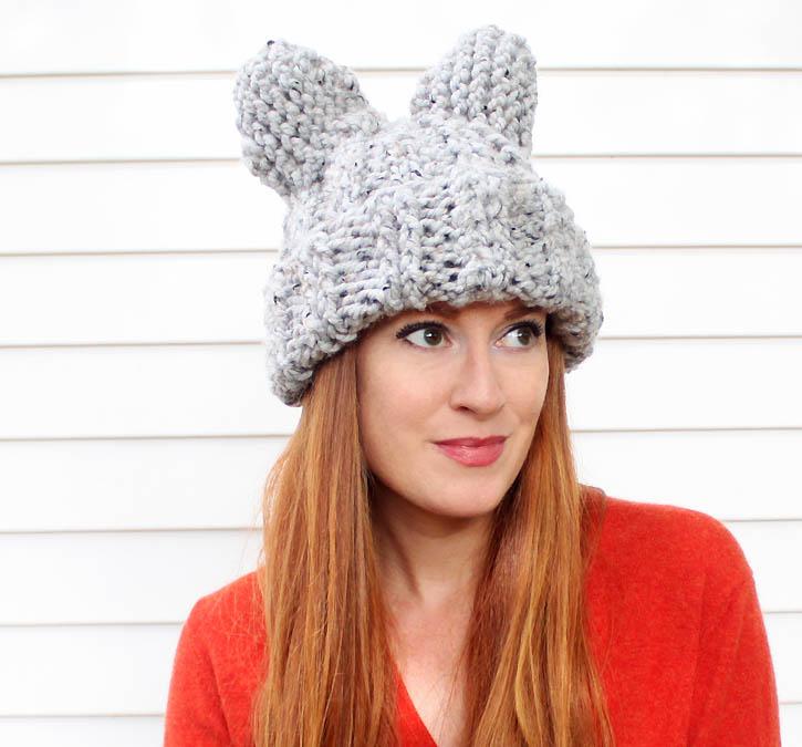 Picture Of cute diy cat ear hat of heavy yarn  1