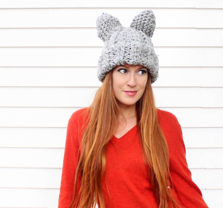Picture Of cute diy cat ear hat of heavy yarn  2
