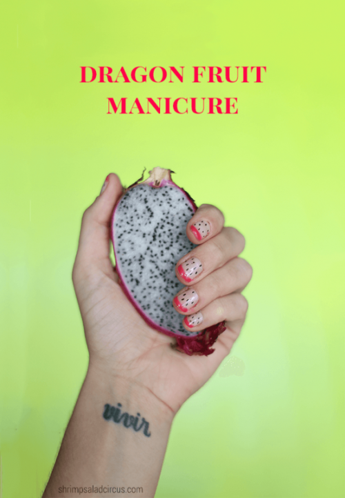 Cute DIY Dragon Fruit Inspired Nail Design
