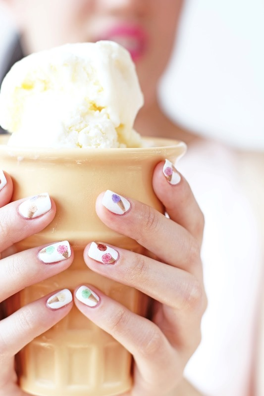 Picture Of cute diy ice cream nail design to try  2