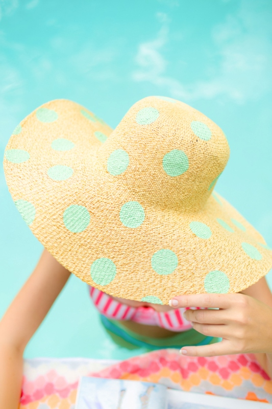 Picture Of cute diy polka dot floppy hat for beach  2