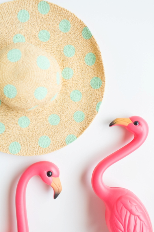 Picture Of cute diy polka dot floppy hat for beach  4