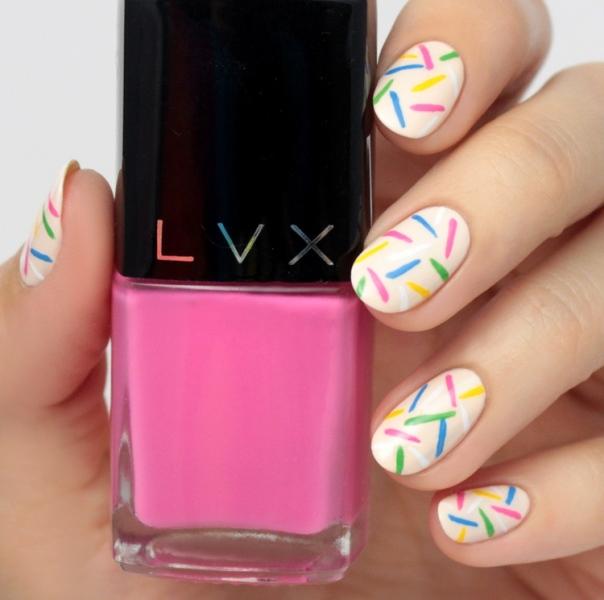 Picture Of cute diy rainbow sprinkles nail design  1