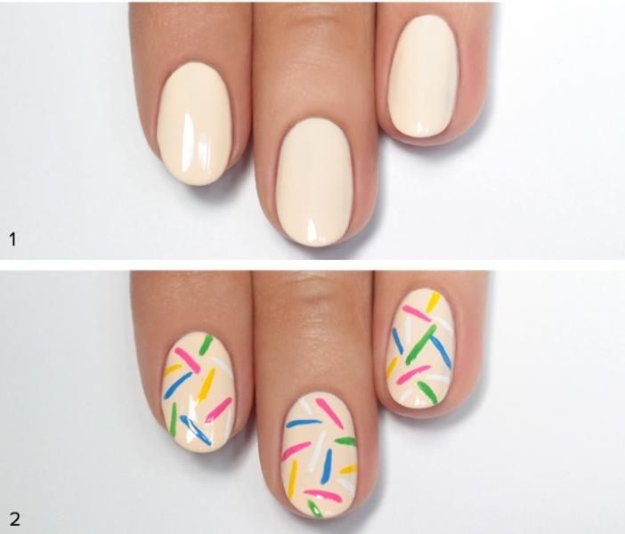 Picture Of cute diy rainbow sprinkles nail design  2