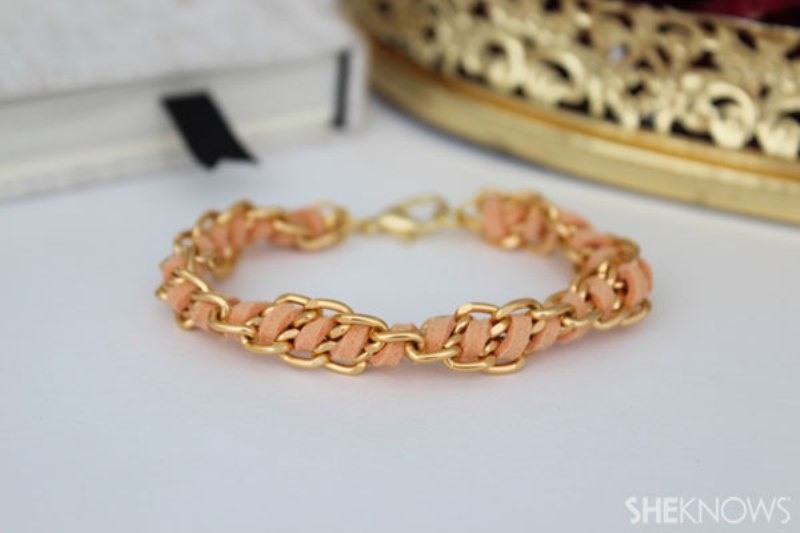 Picture Of cute diy spiral chain and suede bracelet  1