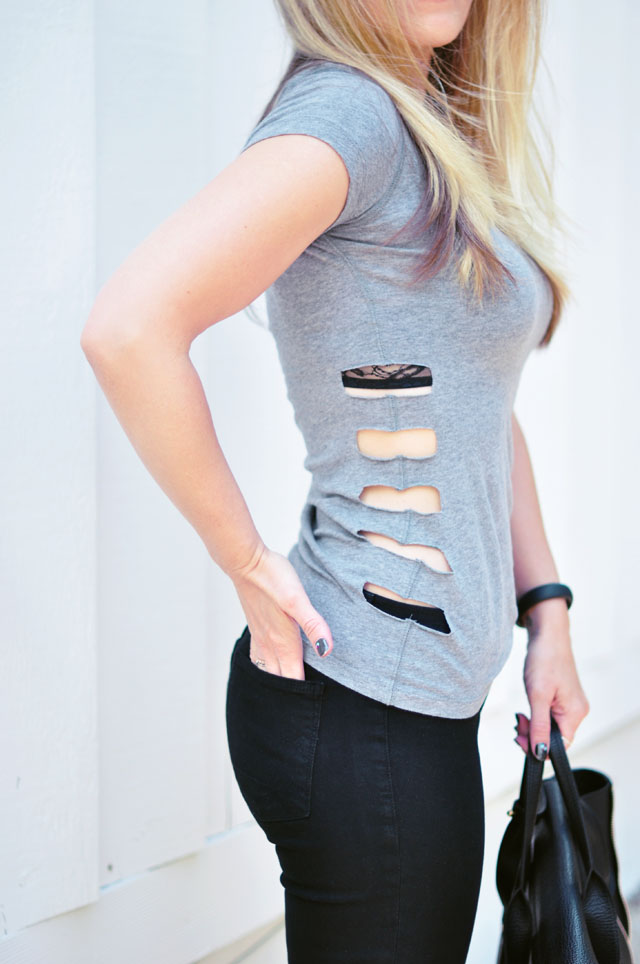 Picture Of cute sporty diy cut out t shirt  6