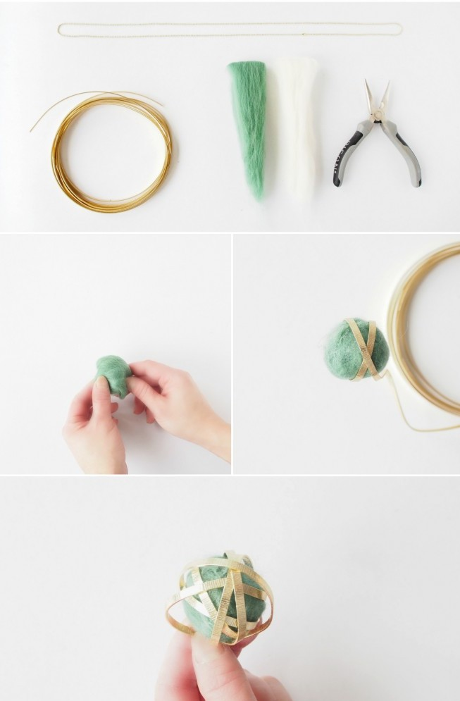 Picture Of delicate diy wire felt bead necklace  4