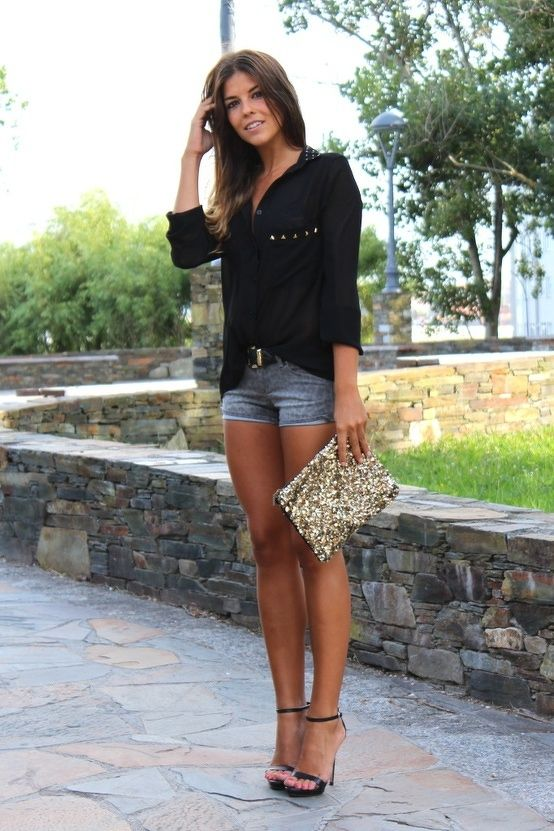 Picture Of denim shorts outfits for summer  14