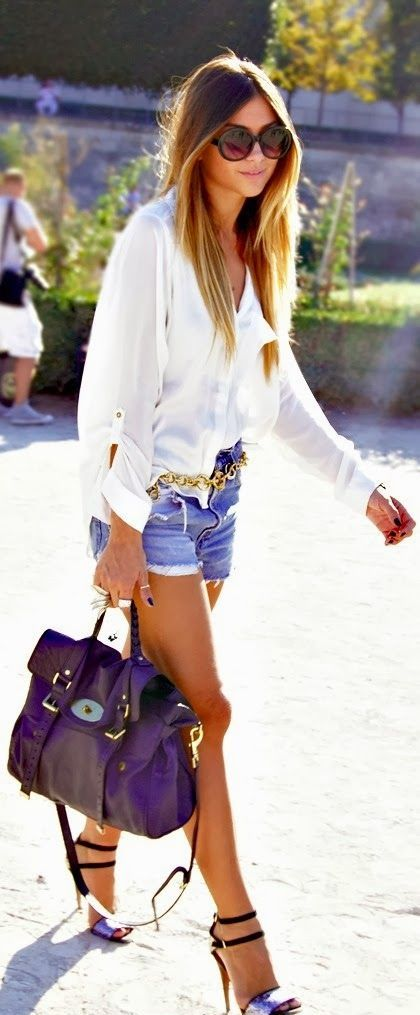 Stylish Denim Shorts Outfits For Summer